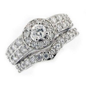 Halo Vintage style Wedding Ring Set